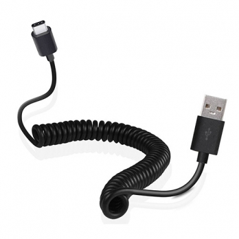 Gekrulde USB-C naar USB kabel - 1,2 meter - zwart