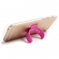 Universele siliconen one touch flip standaard roze