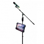 Tablethouder voor muziek- en microfoonstatief