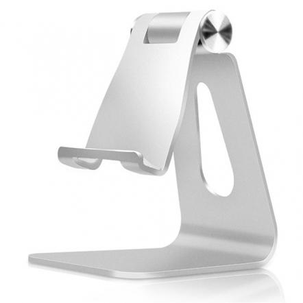 Verstelbare aluminium smartphone standaard zilverkleurig
