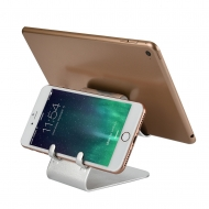 Dubbele aluminium telefoon- en tabletstandaard zilverkleurig