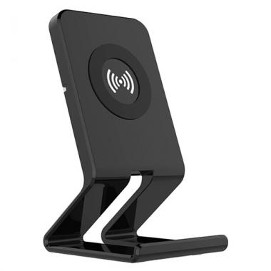 Telefoonstandaard met draadloze QI oplader zwart
