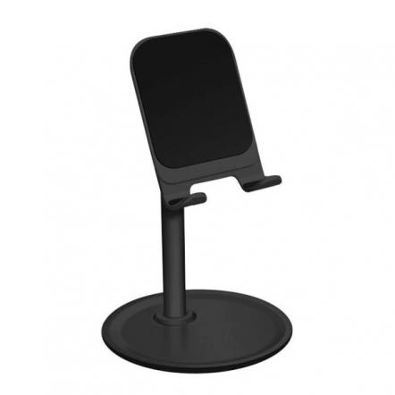 Tablet- en telefoonstandaard op voet verstelbaar universeel zwart